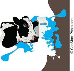 cow, milk, package, vector illustration