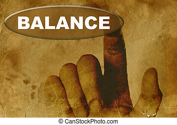 vintage paper with hand and word of BALANCE