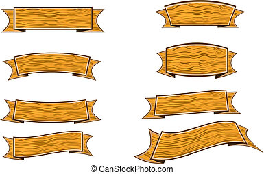 wood banner - eight wood grain banner illustrations on white