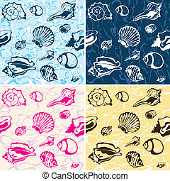 seamless seashell background, marine vector pattern