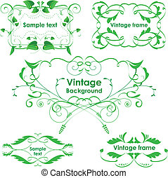 Vintage frames. Vector design elements. Eco green