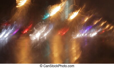 car window rain night background defocused
