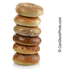 Bagels - Assortment Of Bagels On White Background
