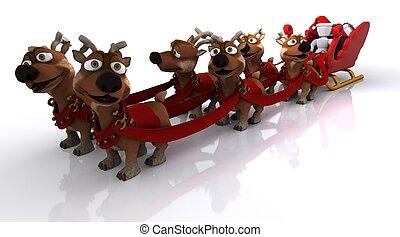 santas sleigh and reindeer