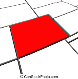 Colorado Red Abstract 3D State Map United States America - A...