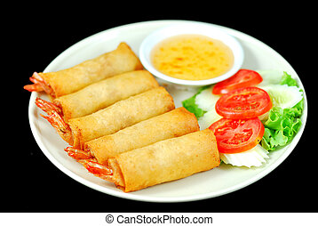 Shrimp Spring Roll with Sauce and Slice Tomato