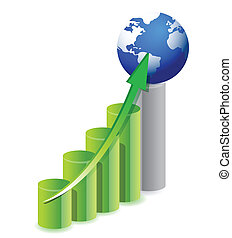 business graph with a globe in top