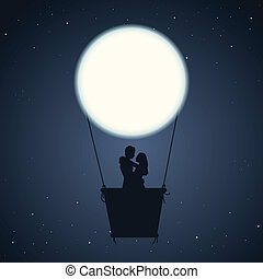 Romantic Night - Vector illustration of a couple in an air...