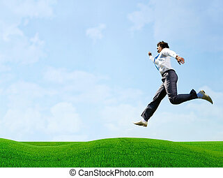 Jumping businessman - Photo of busy businessman jumping over...