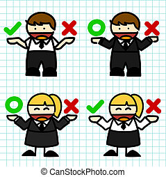 Business man and woman cartoon.