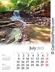 2013, Calendário, julho, bonito, verão,...
