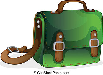 a green bag - illustration of a green bag on a white...