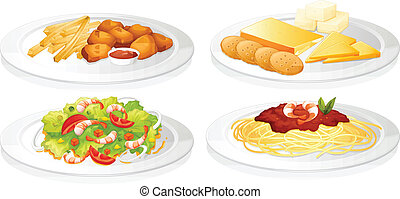 a various foods - illustration of a various foods on a white...