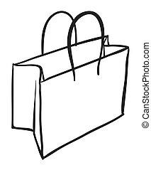 a bag sketch - illustration of a bag sketch on white...