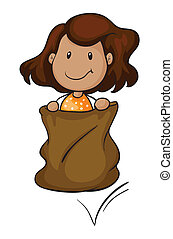 a girl in a sack