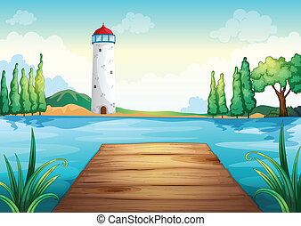 a light house - illustration of a light house and wooden...