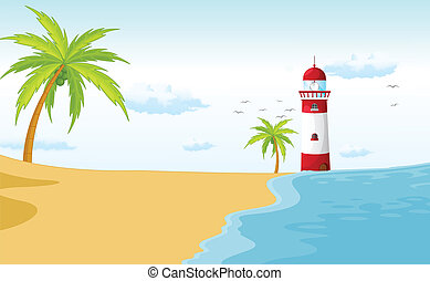 a light house - illustration of a light house in a beautiful...