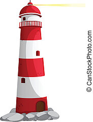 a light house - illustration of a light house on a white...
