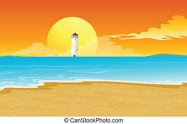 a light house and sun - illustration of a light house and...