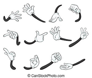 various hands - illustration of various hands on a white...