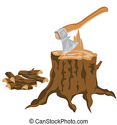 Axe and pricked firewood on white background