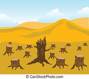 Felled wood - The Chopped down wood and desert.Ecological...