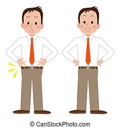 businessman before and after diet - Illustration of...