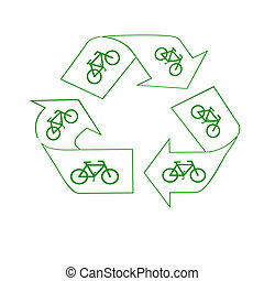 peddle power - green recycle symbol and bicycles save the...