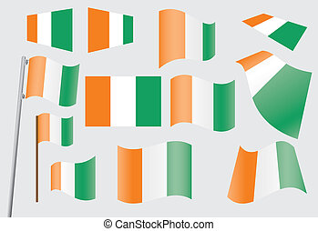set of flags of Ivory Coast (C?te d'Ivoire) vector...
