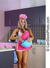 sexy, biondo, ragazza, cucina