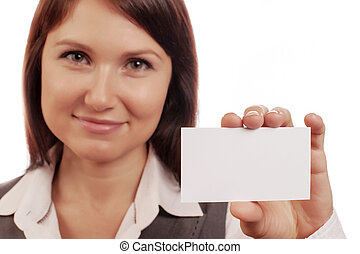 Woman holds a business card