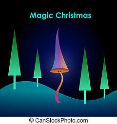 magia, navidad, tarjeta