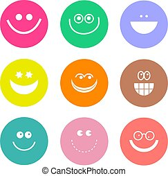 smilie shapes - collection of smilie face icons isolated on...
