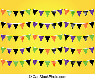 Halloween flags or bunting isolated on orange