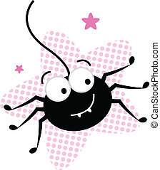 Cute crazy black spider in pink star - Happy cute black...