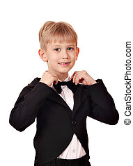 boy with bow tie and suit