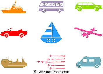 transport shapes - collection of land, sea, and air...