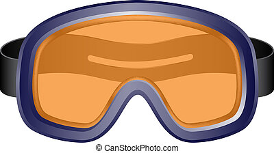 Ski sport goggles in vintage design on white background