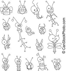 Cartoon insects - Some cartoon insects (a ladybug, a fly, a...