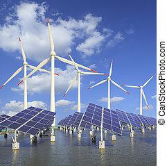 solar energy panels and wind turbine - Power plant using...