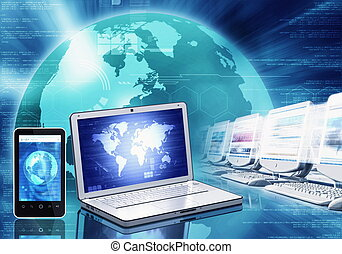 Information technology and gadget - Internet concept or...