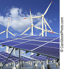 solar energy panels and wind turbine - Power plant using...