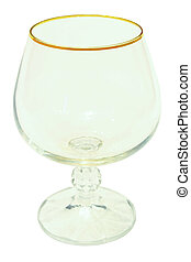 Wine glass with a thin glass isolated on white background