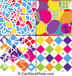 Geometric funny seamless patterns set