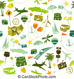 Traveling seamless - Travel seamless pattern on white...