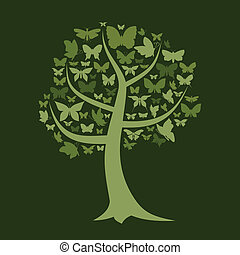 Tree the butterfly - Tree with a crone from butterflies A...