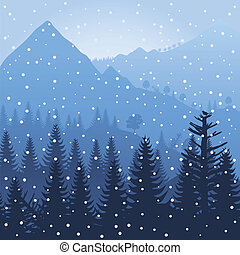 Mountain3 - Winter wood in mountains. A vector illustration