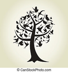 Tree a bird - On a tree birds sit A vector illustration