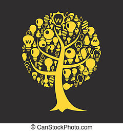 Tree a bulb - Tree with a crone from bulbs A vector...