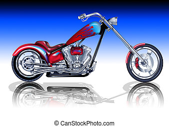 Custom Red Chopper - An illustration of a custom motorbike.